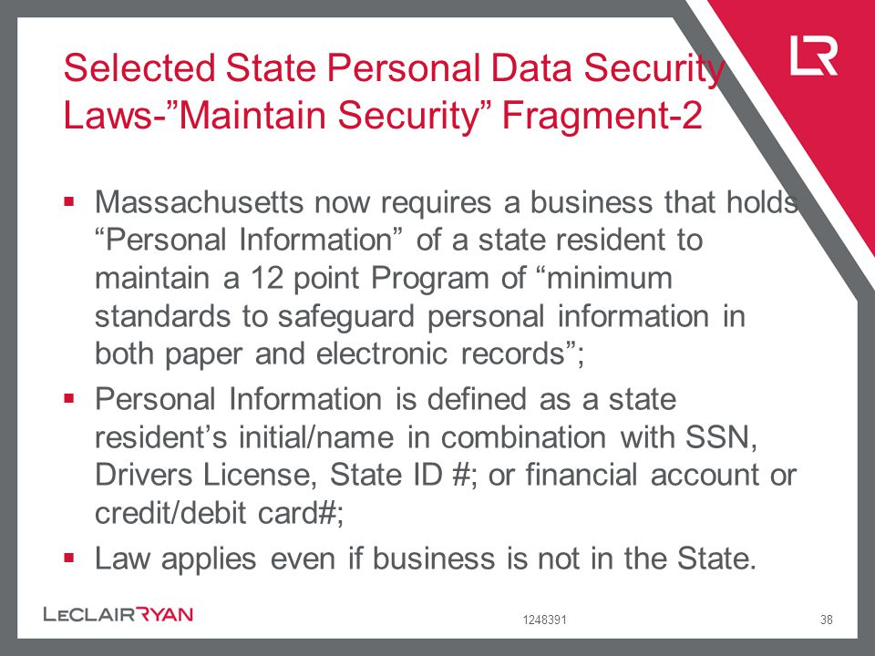 Selected State Personal Data Security Laws- Maintain Security Fragment-2