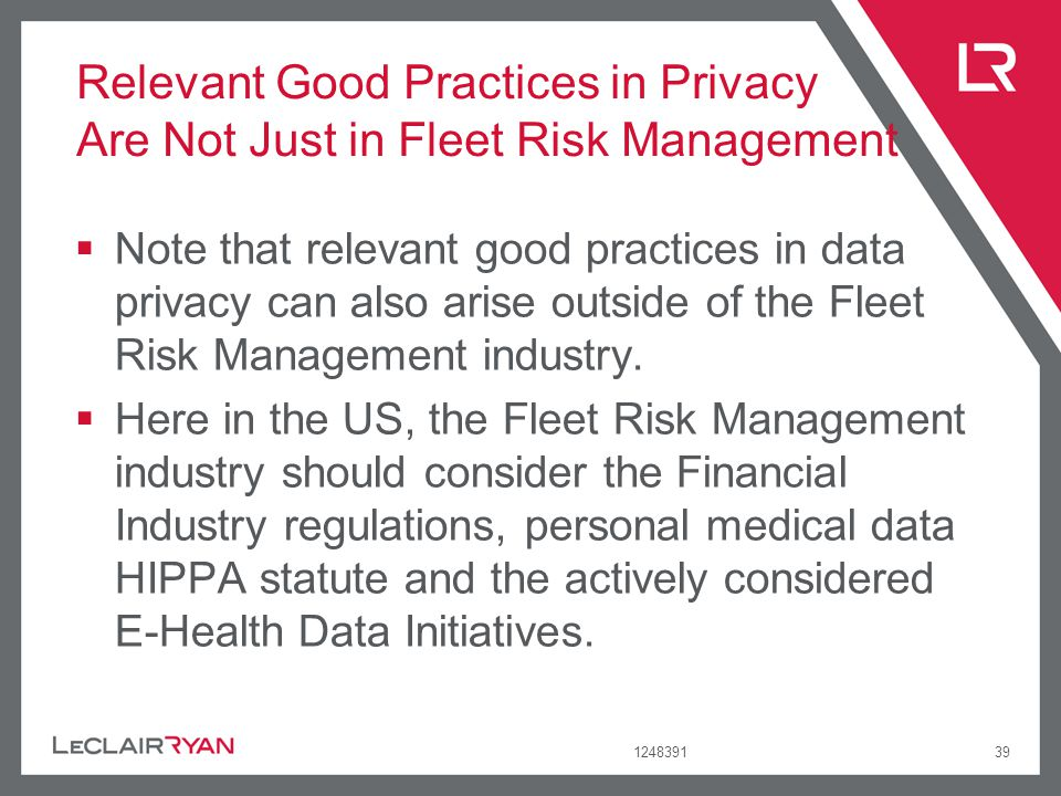 Relevant Good Practices in Privacy Are Not Just in Fleet Risk Management