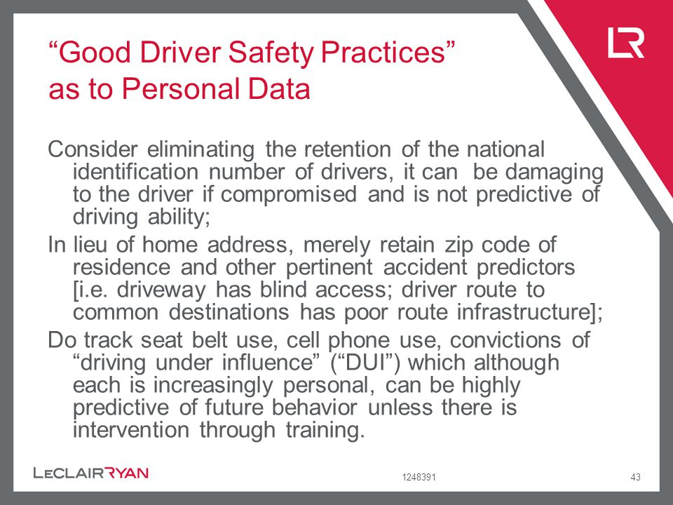 Good Driver Safety Practices as to Personal Data