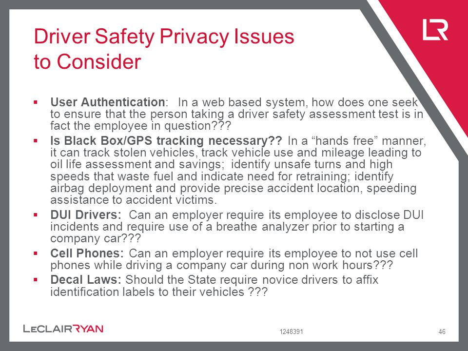Driver Safety Privacy Issues to Consider
