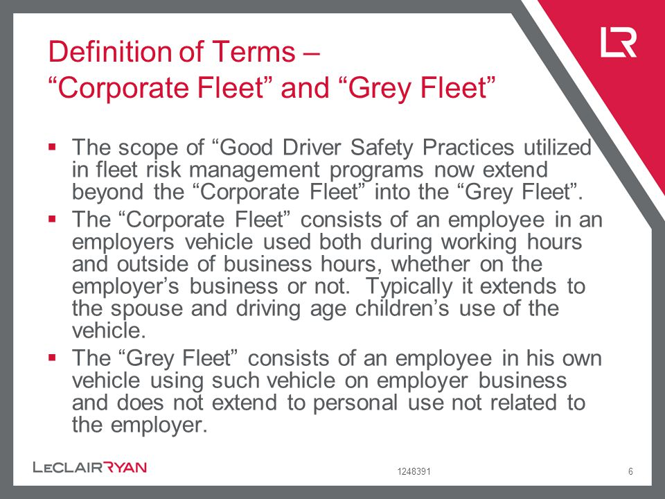 Definition of Terms – Corporate Fleet and Grey Fleet