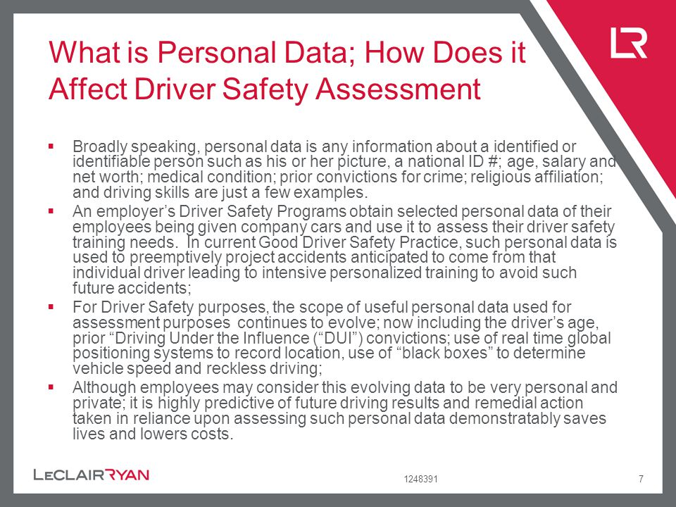 What is Personal Data; How Does it Affect Driver Safety Assessment