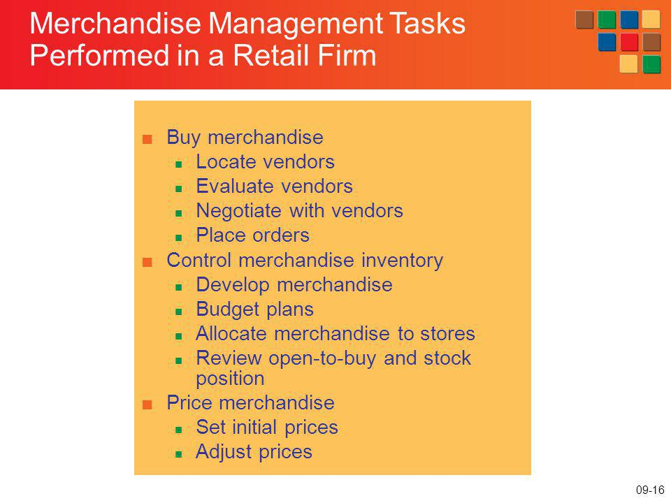 Merchandise Management Tasks Performed in a Retail Firm