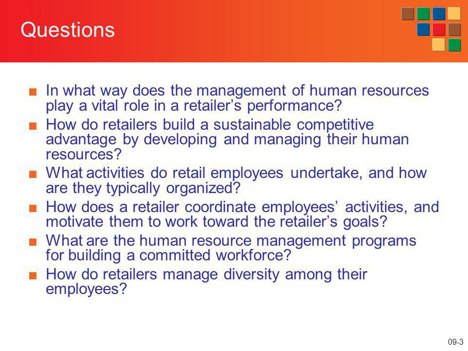 Questions In what way does the management of human resources play a vital role in a retailer's performance