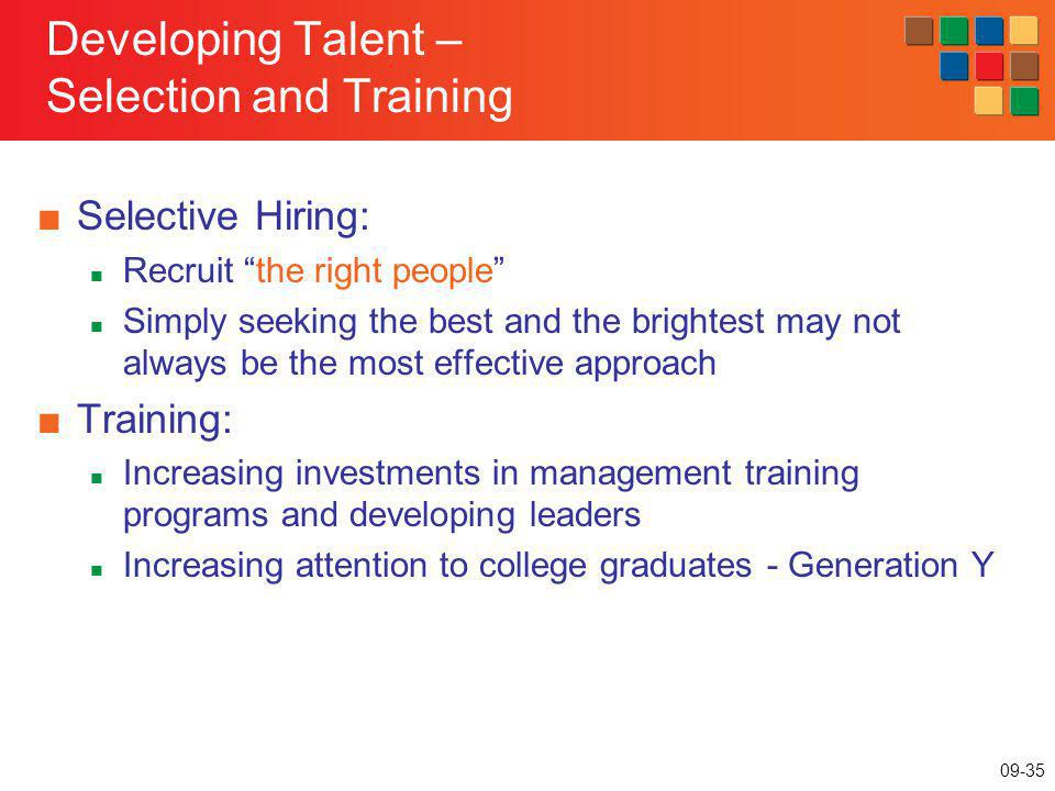 Developing Talent – Selection and Training