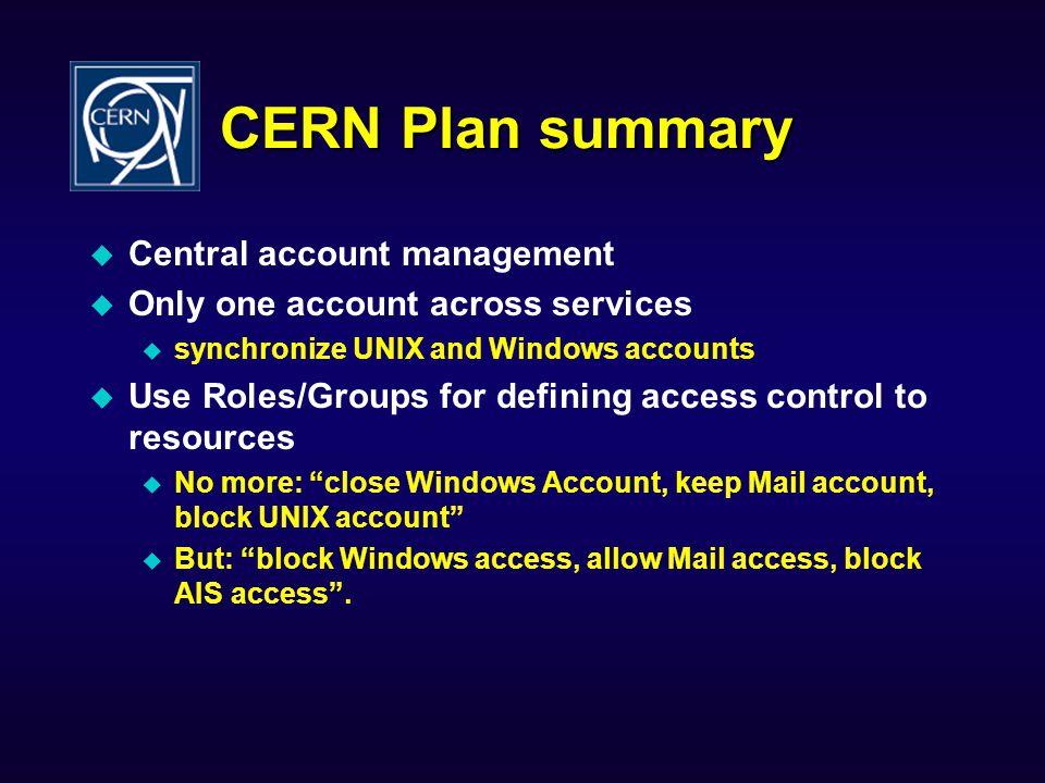 CERN Plan summary Central account management
