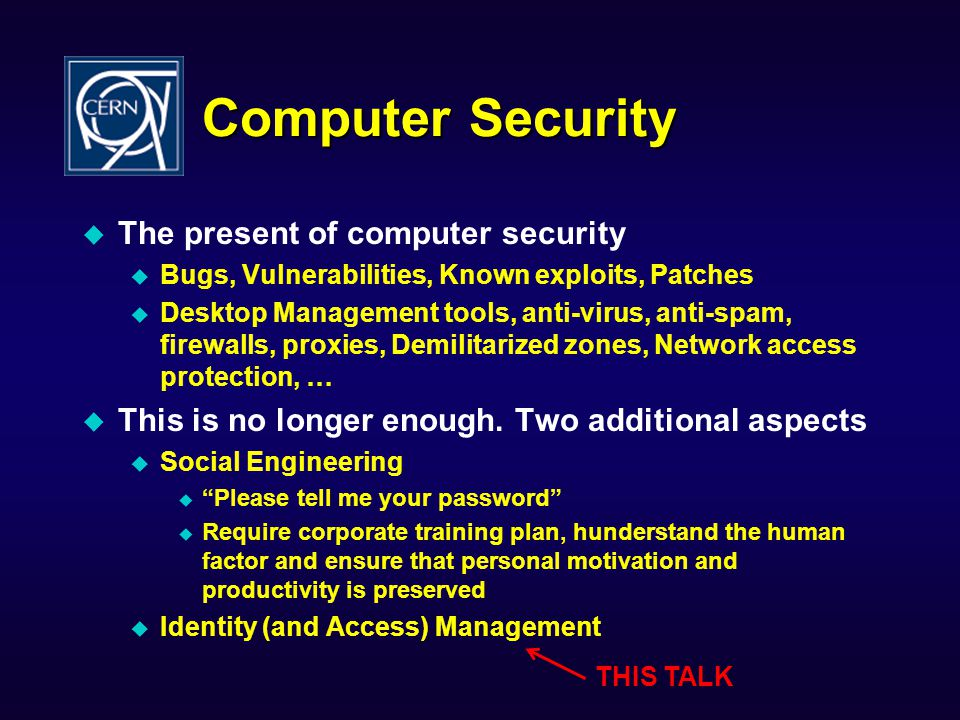 Computer Security The present of computer security
