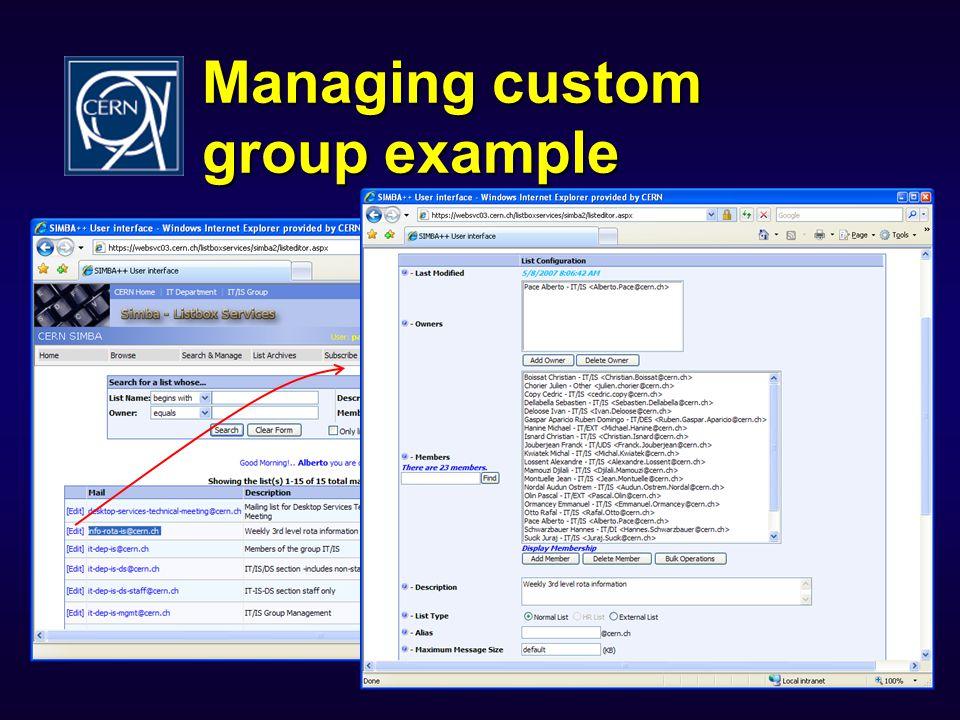 Managing custom group example