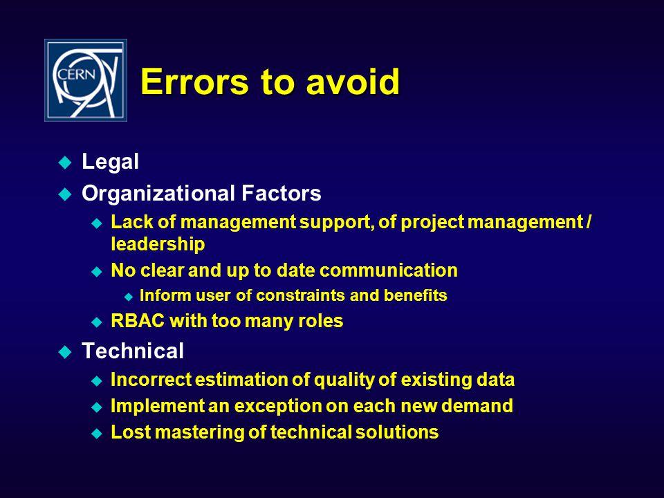 Errors to avoid Legal Organizational Factors Technical