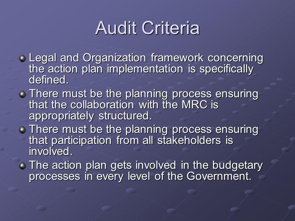 Audit Criteria Legal and Organization framework concerning the action plan implementation is specifically defined.