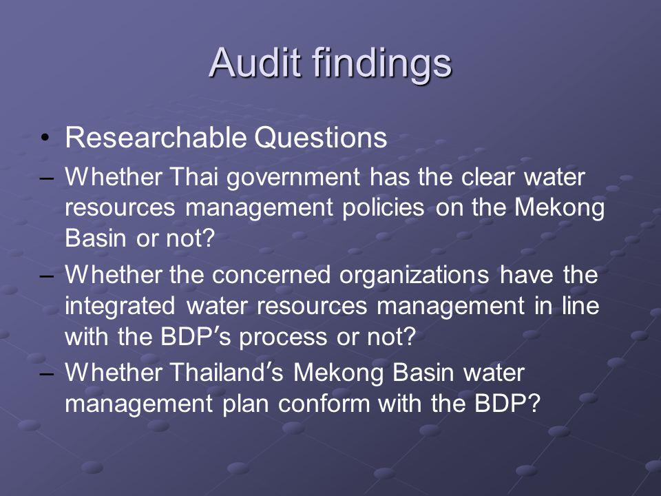 Audit findings Researchable Questions