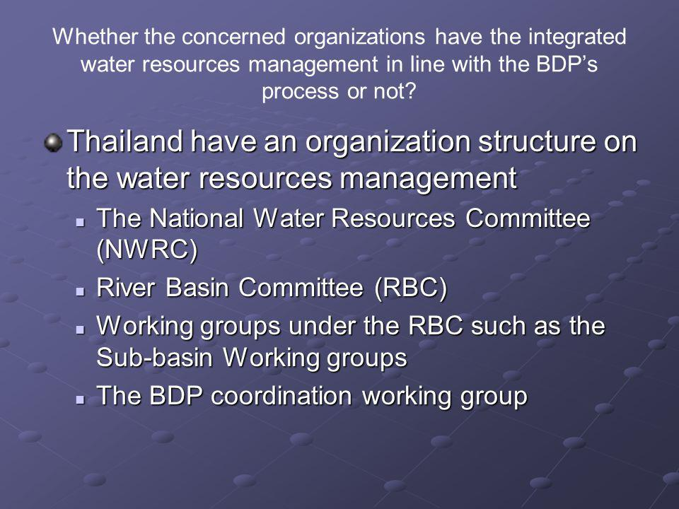 Whether the concerned organizations have the integrated water resources management in line with the BDP's process or not