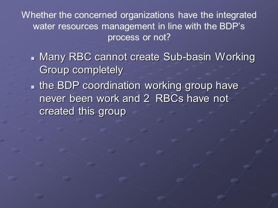 Many RBC cannot create Sub-basin Working Group completely