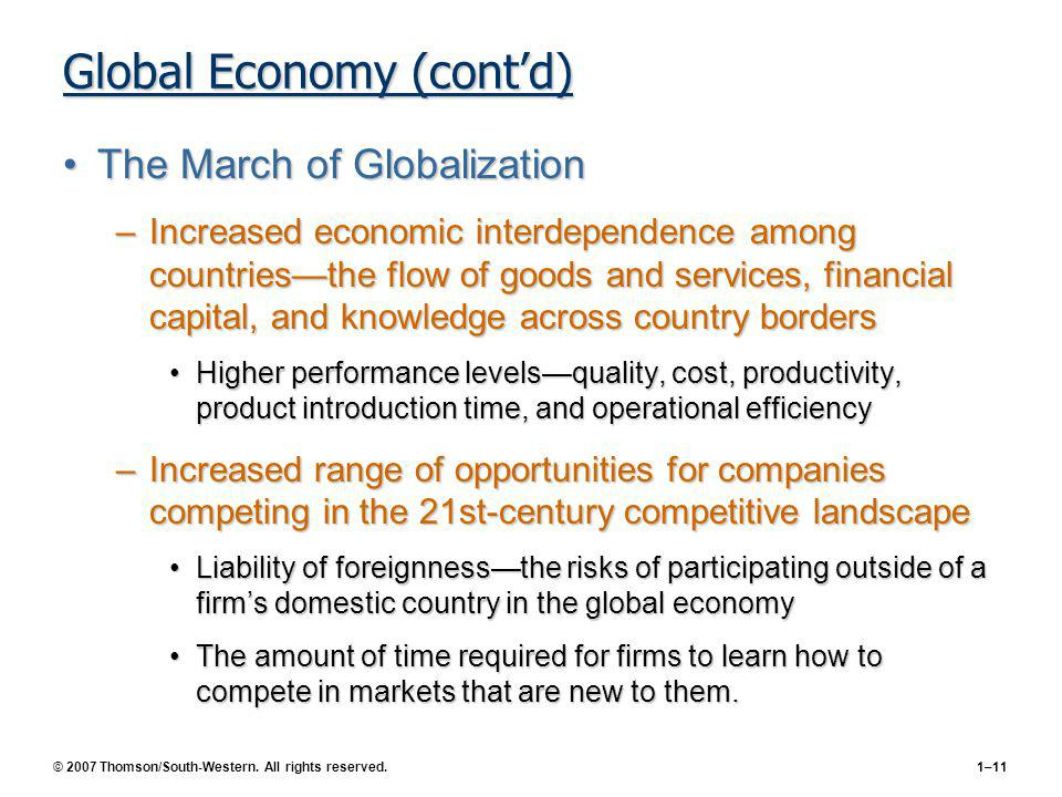 Global Economy (cont'd)