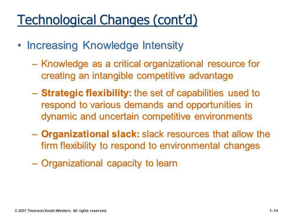 Technological Changes (cont'd)