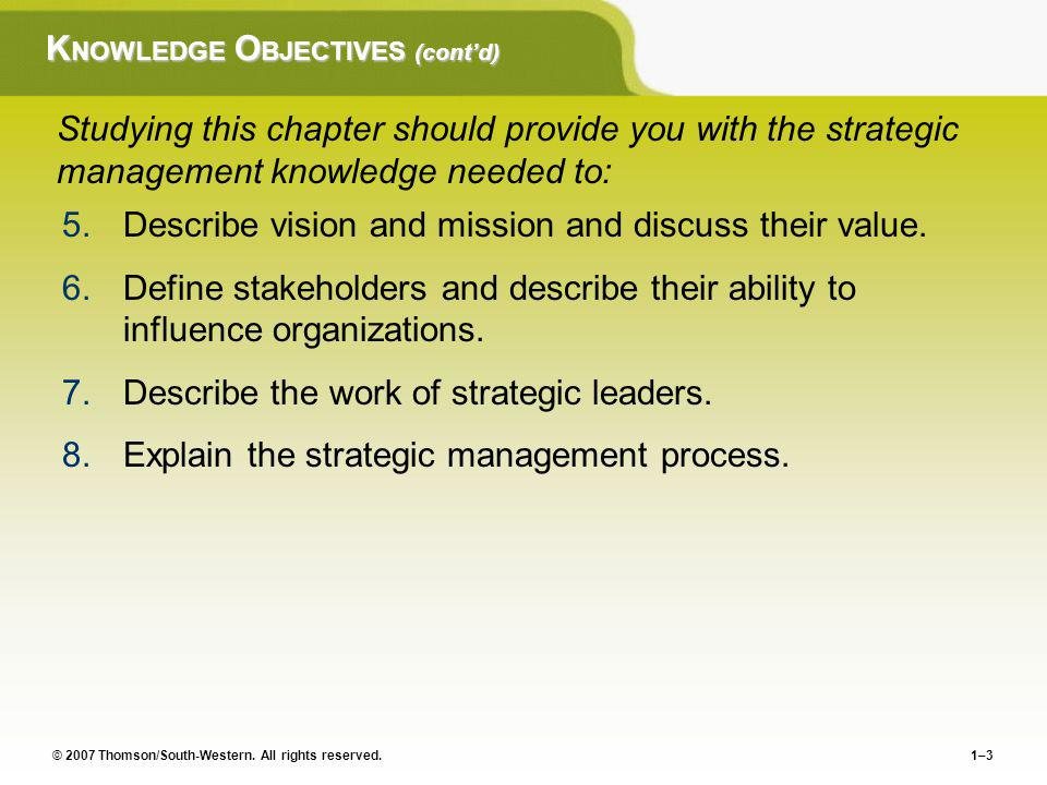 KNOWLEDGE OBJECTIVES (cont'd)