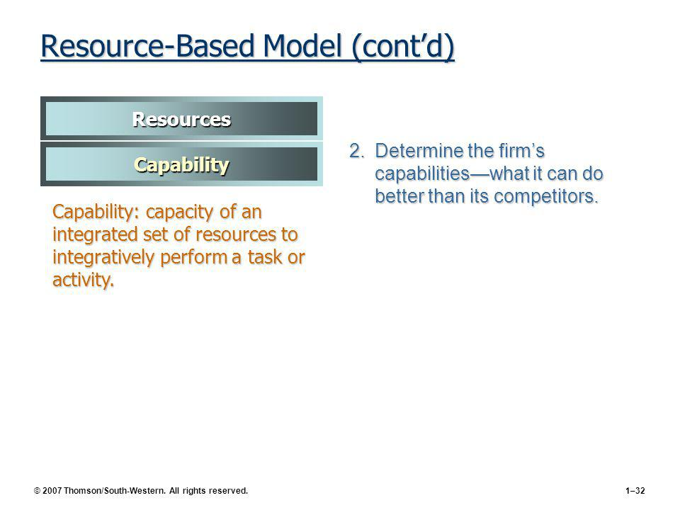 Resource-Based Model (cont'd)