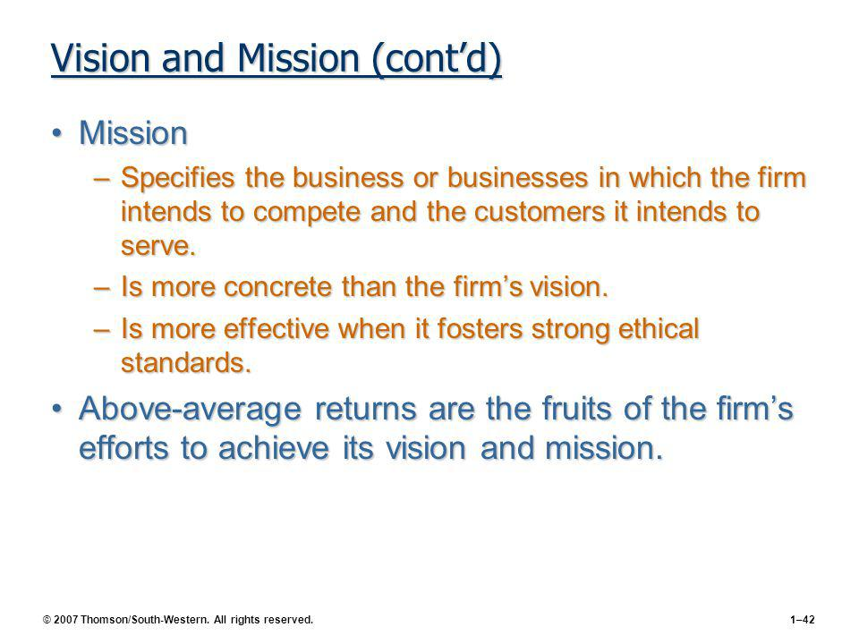 Vision and Mission (cont'd)