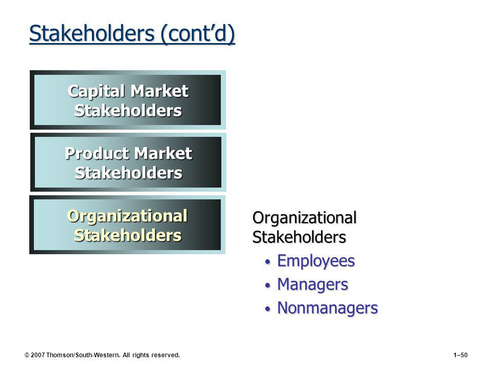 Stakeholders (cont'd)