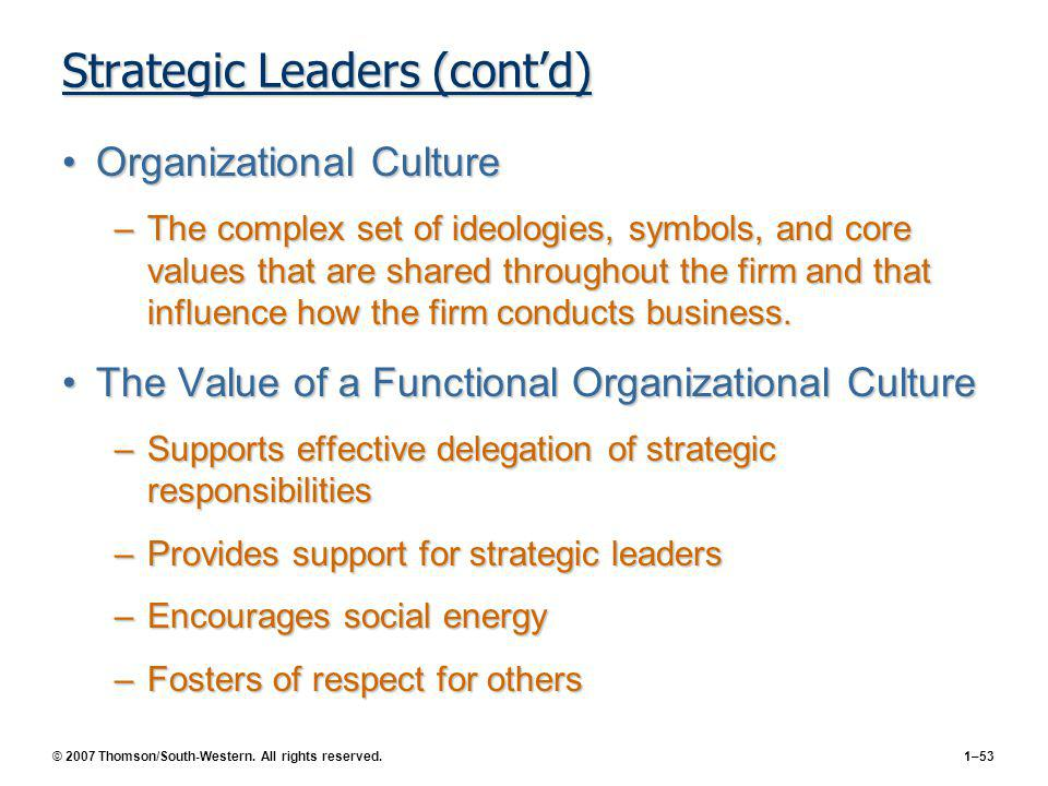 Strategic Leaders (cont'd)