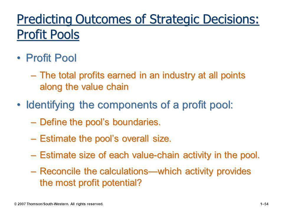Predicting Outcomes of Strategic Decisions: Profit Pools
