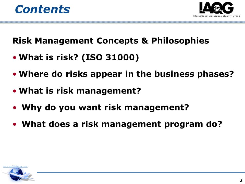 Contents Risk Management Concepts & Philosophies