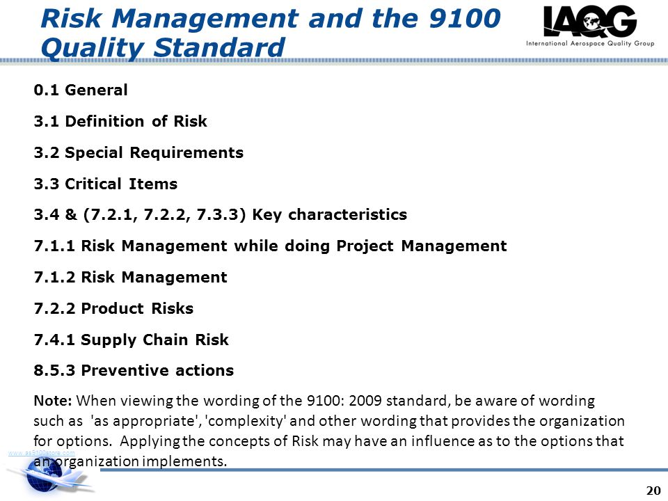 Risk Management and the 9100 Quality Standard