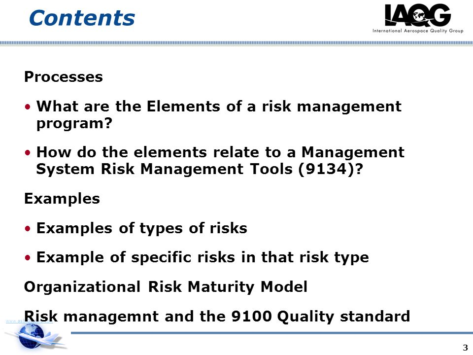 Contents Processes What are the Elements of a risk management program