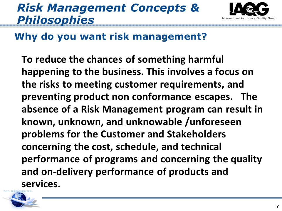Why do you want risk management
