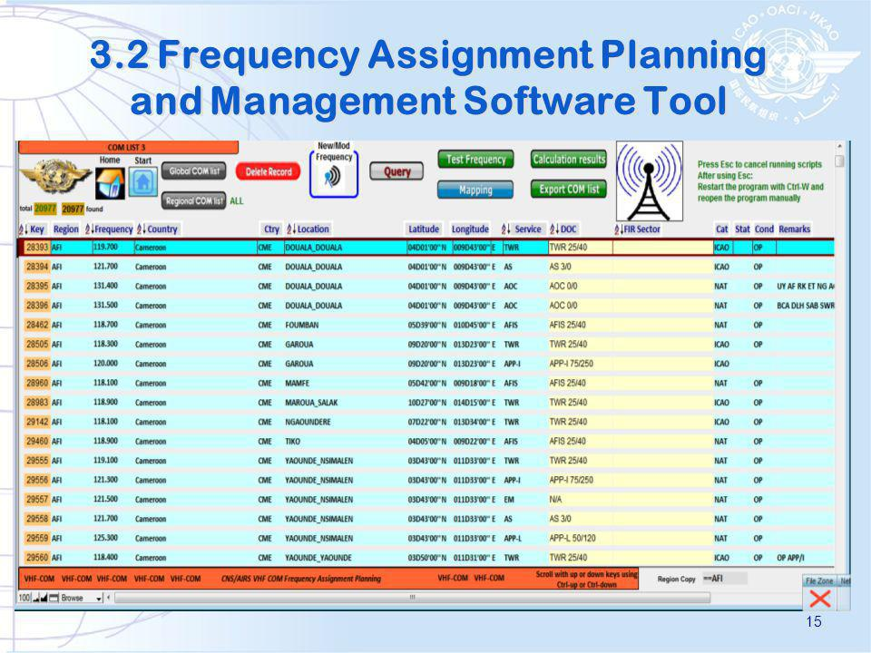 3.2 Frequency Assignment Planning and Management Software Tool