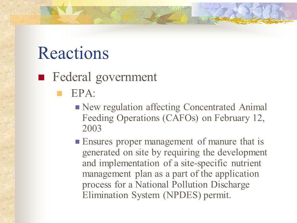 Reactions Federal government EPA: