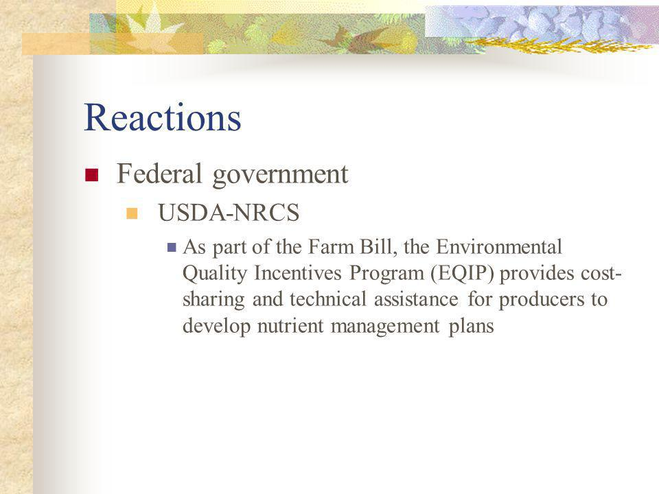 Reactions Federal government USDA-NRCS