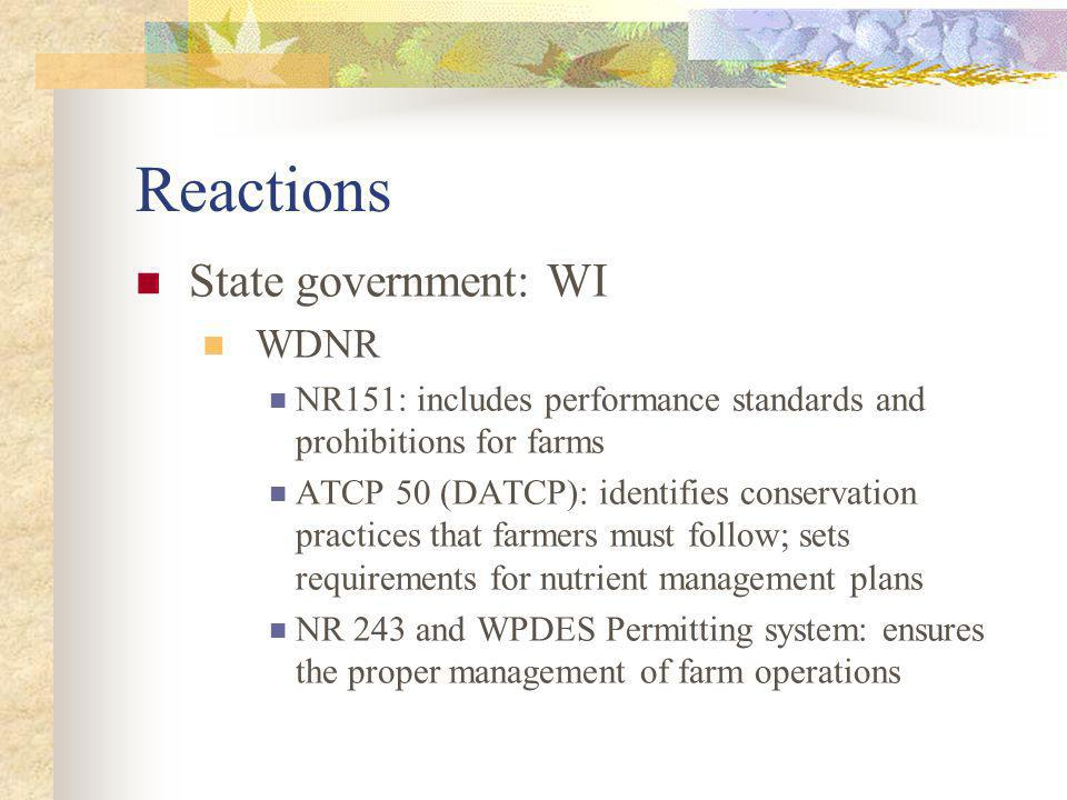 Reactions State government: WI WDNR