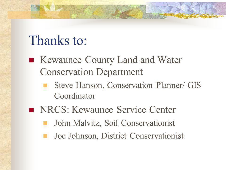 Thanks to: Kewaunee County Land and Water Conservation Department