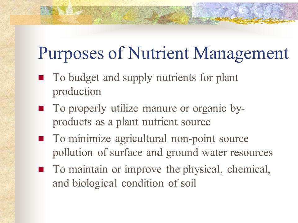 Purposes of Nutrient Management