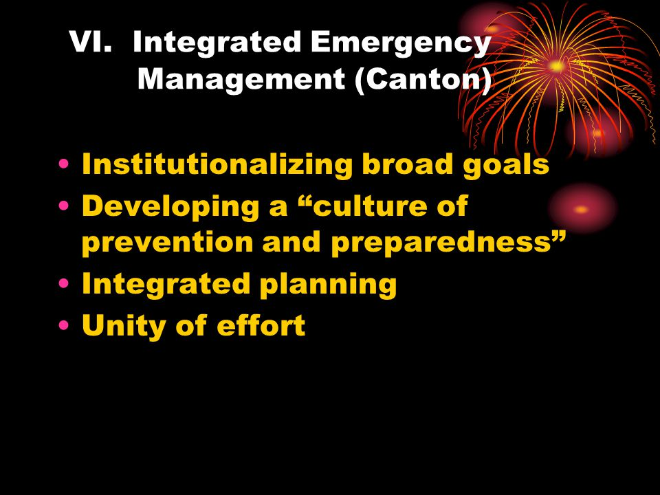 VI. Integrated Emergency Management (Canton)