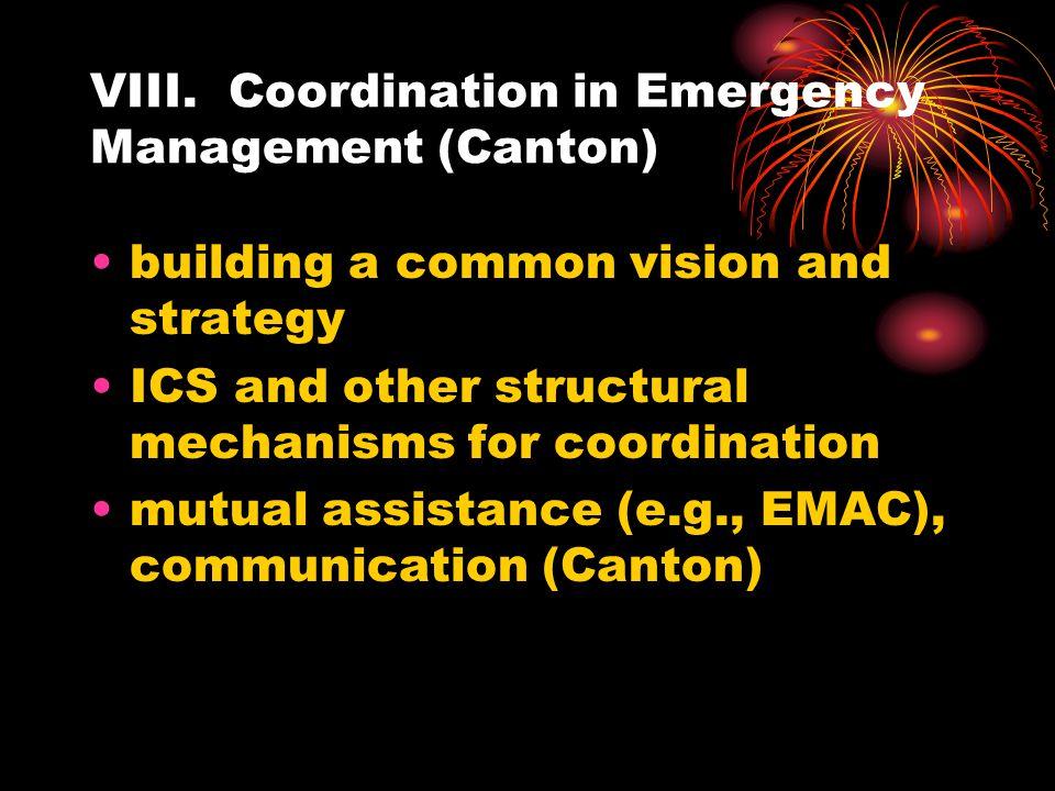 VIII. Coordination in Emergency Management (Canton)