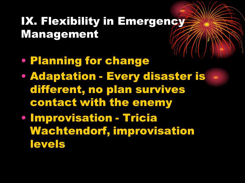 IX. Flexibility in Emergency Management