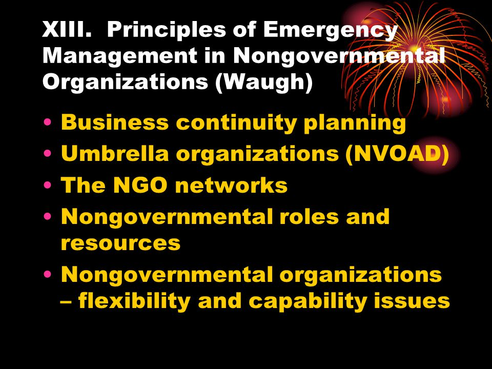 XIII. Principles of Emergency Management in Nongovernmental Organizations (Waugh)