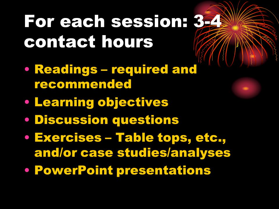For each session: 3-4 contact hours