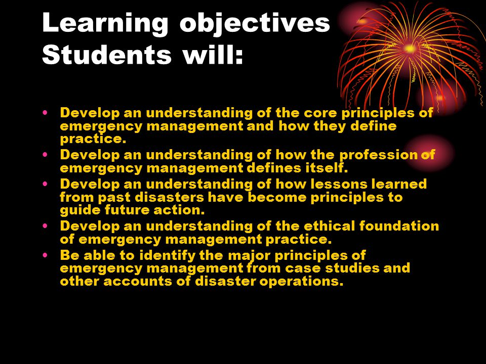 Learning objectives Students will: