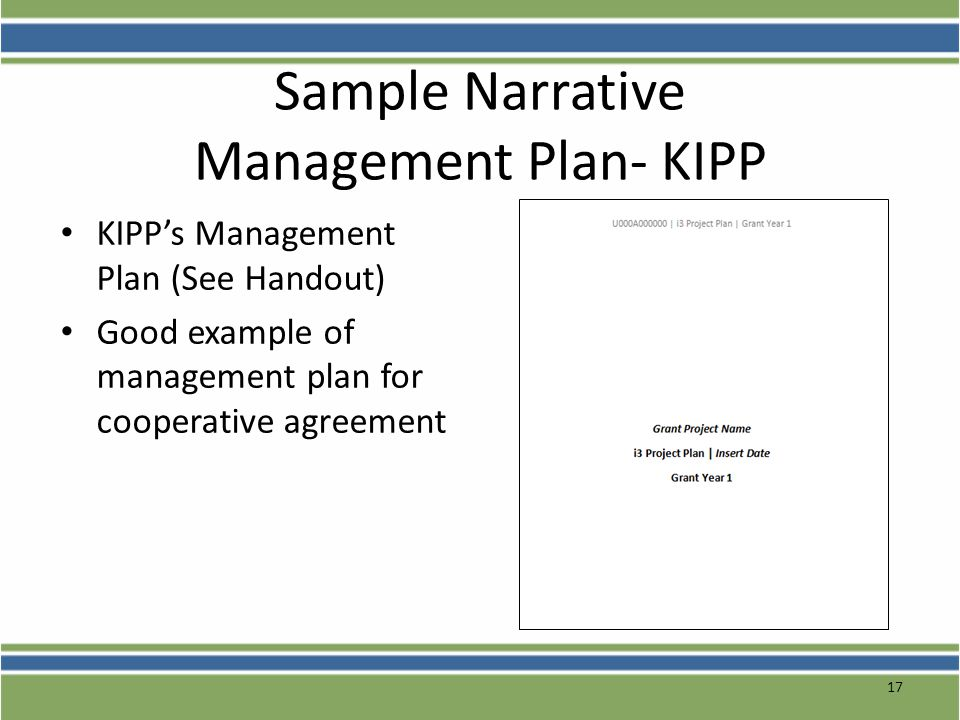 Sample Narrative Management Plan- KIPP