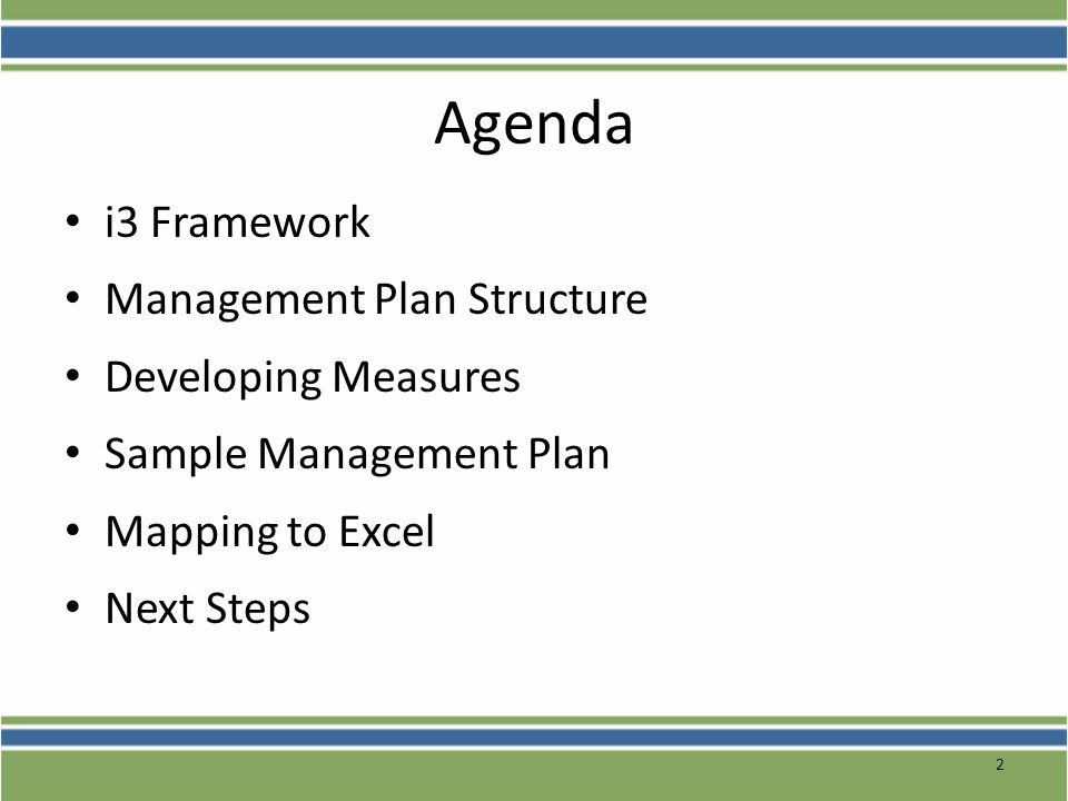 Agenda i3 Framework Management Plan Structure Developing Measures