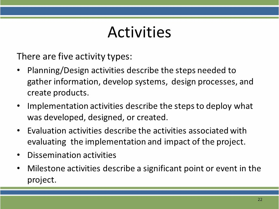 Activities There are five activity types: