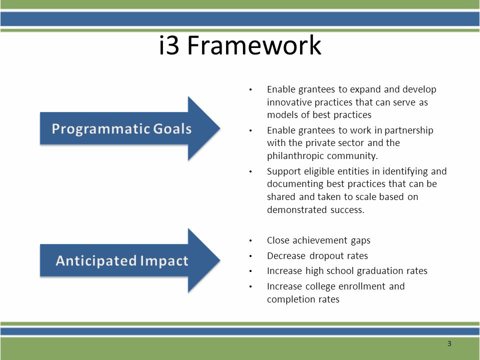 i3 Framework Programmatic Goals Anticipated Impact