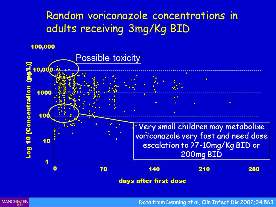 Random voriconazole concentrations in adults receiving 3mg/Kg BID