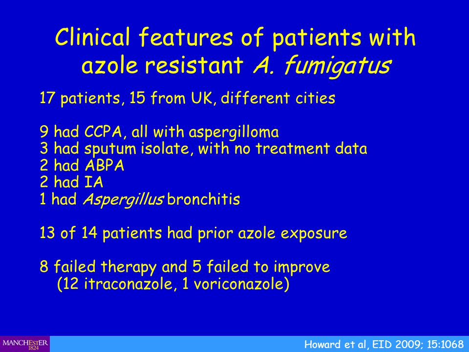 Clinical features of patients with azole resistant A. fumigatus