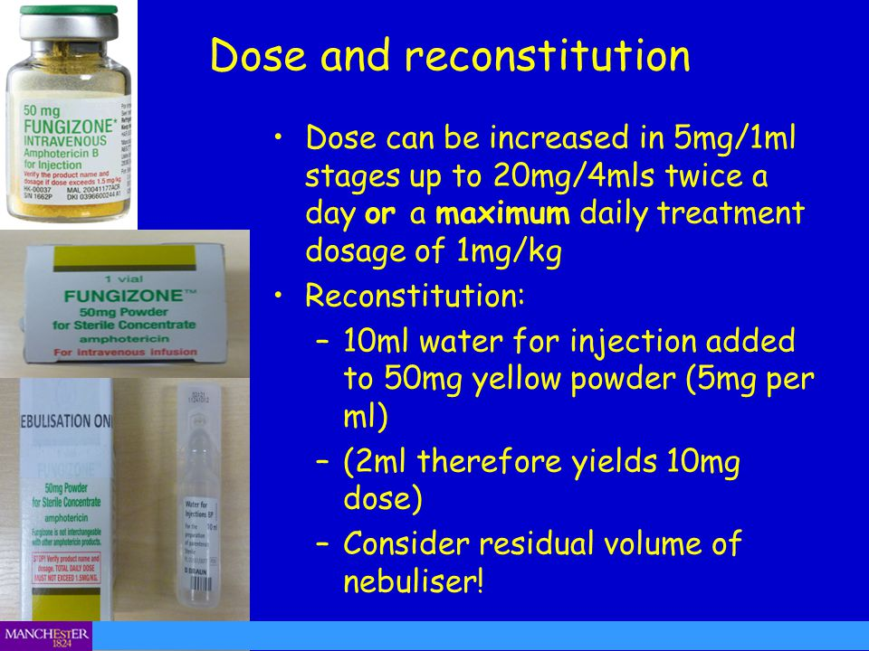 Dose and reconstitution