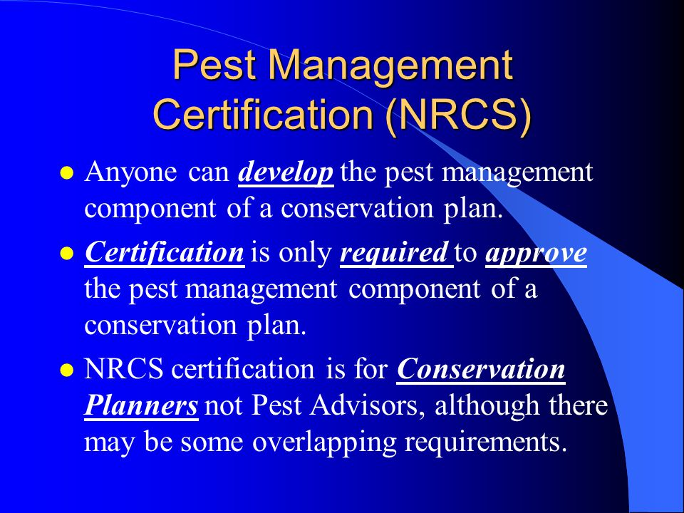 Pest Management Certification (NRCS)