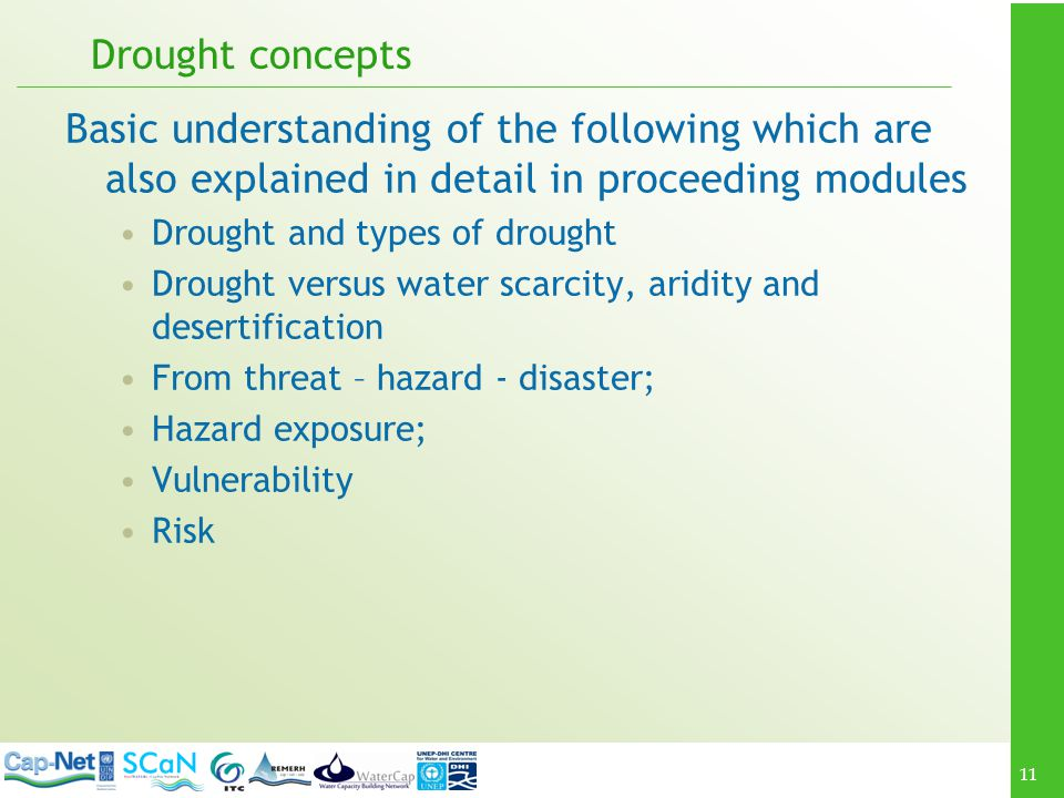 Drought concepts Basic understanding of the following which are also explained in detail in proceeding modules.